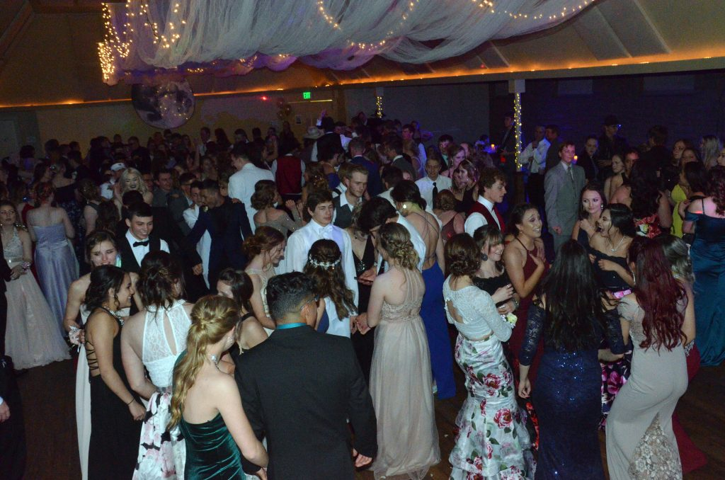The crowd is sizable at Moffat County High School prom.