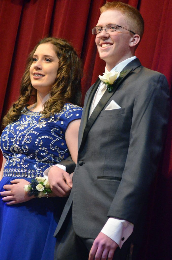 Aveory Lighthizer and Trenton Hillewaert pose in the Grand March at Moffat County High School prom.