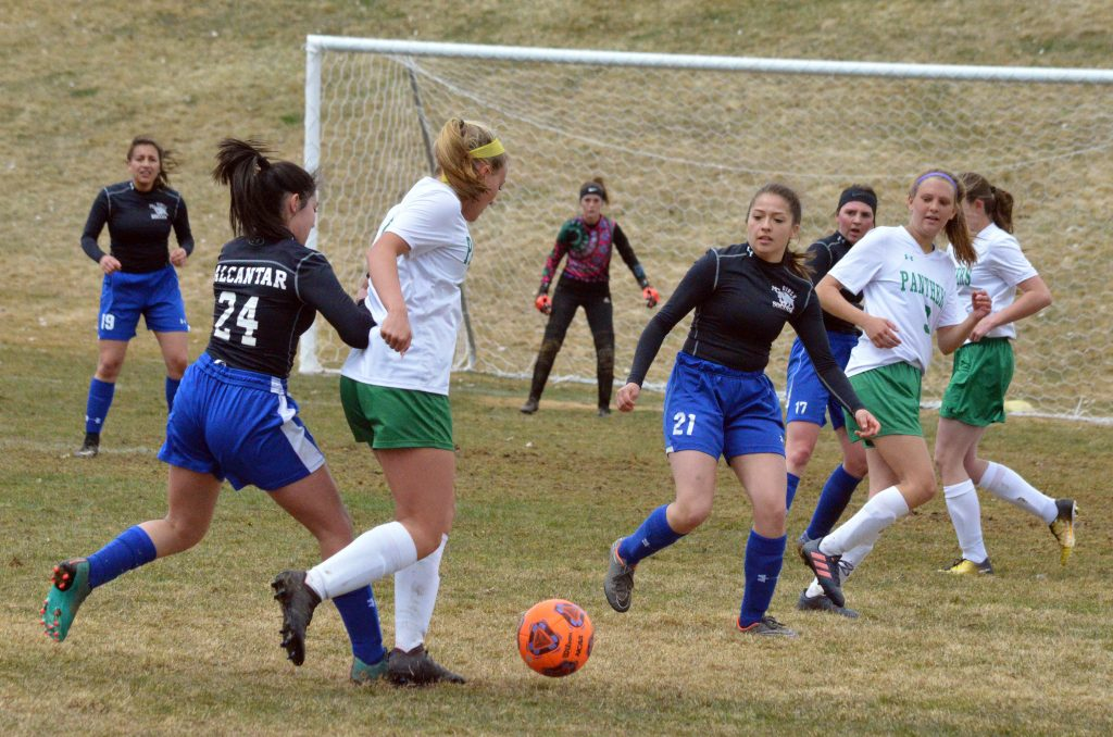 Moffat County High School soccer players stay alert versus Delta.