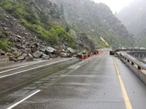 Glenwood Canyon rock slide, hazardous weather close parts of I-70