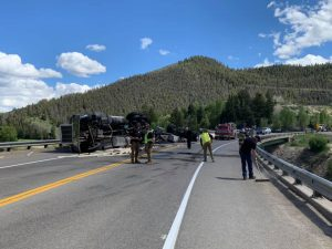 Lumber truck rolls on Highway 40